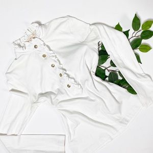 Tory Burch Ruffle Collar White Long Sleeve Blouse